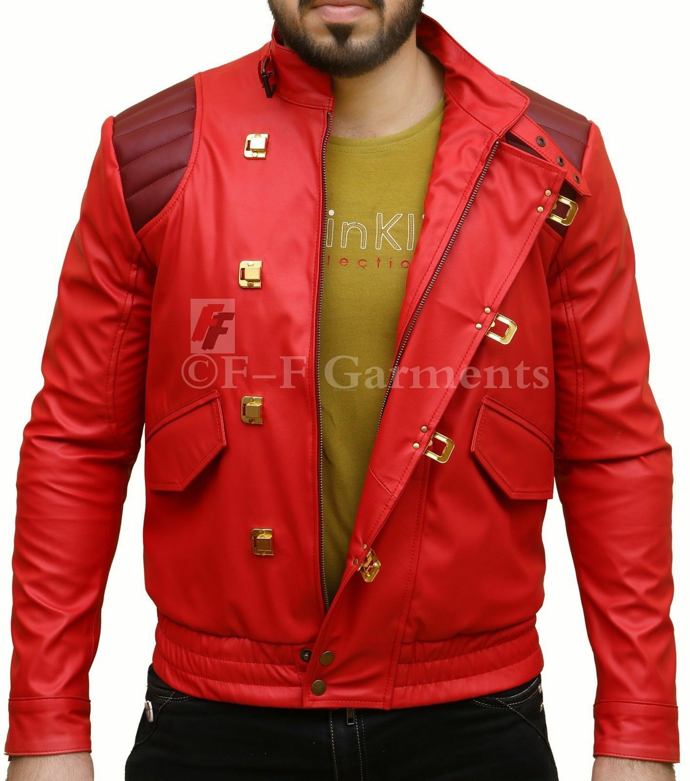 Vintage Akira Kaneda Embroidered Capsule Motorcycle Faux Red Leather Jacket For Sale Online Ebay