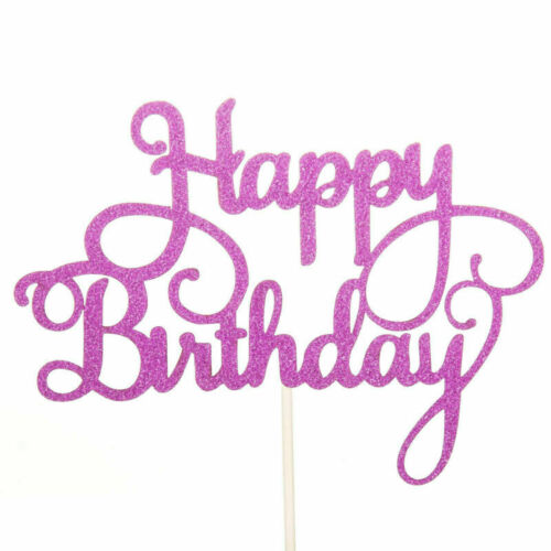 Happy Birthday Cake Toppers Glitter Calligraphy Bling Sparkle Decor Party UK