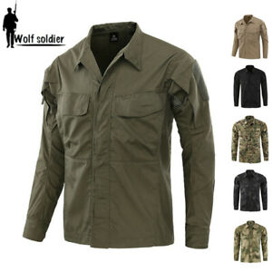 Mens-Military-Shirt-Army-Combat-Tactical-Long-Sleeve-Casual-Shirt-Camouflage
