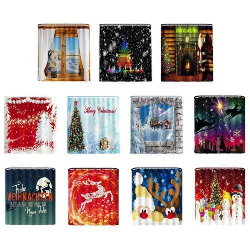 180x180cm Christmas Shower Curtain Waterproof Bathroom Snowman Sleigh Santa V4F9