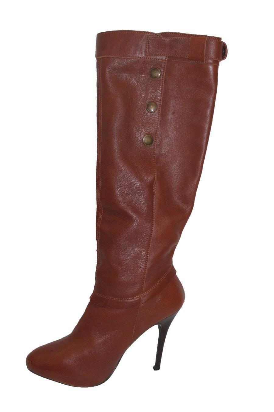 Enact Steve Madden Leder High Heel Stiefel Knee High Leder Madden Congac 7.5 9b7ef9