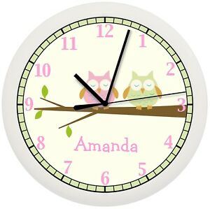 Details about OWL NURSERY WALL CLOCK PINK GREEN TREE BEDDING THEME GIRLS  BEDROOM PERSONALIZED
