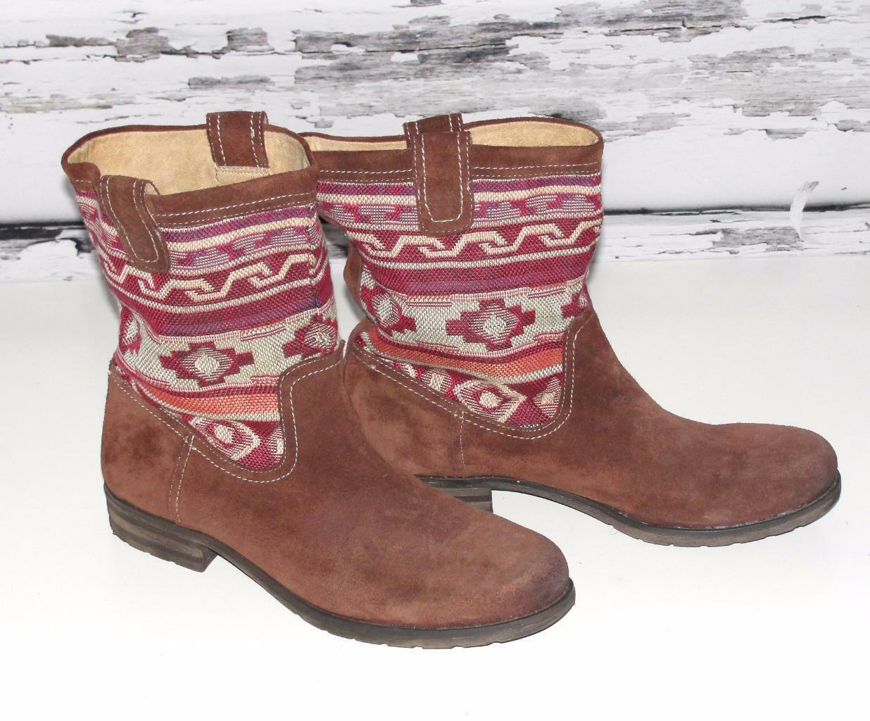 NATURALIZERSUEDE LEATHER TRIBAL WESTERN AZTEC HIPPIE SLOUCHY FLAT BOOTS11M