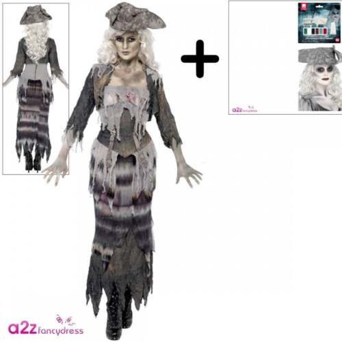 Ladies Ghost Ship Ghoul Costume Halloween Zombie Womens Fancy Dress Wig Make Up