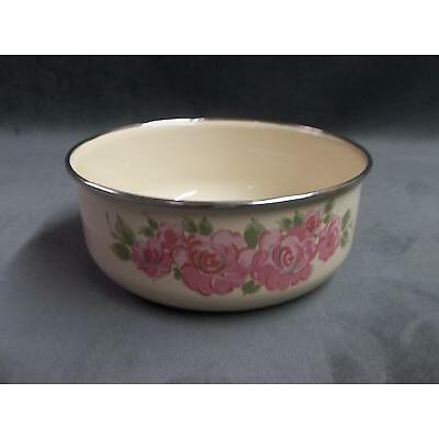 """7 1/4"""" Gibson Houseware made in Thailand porcelain enamel over steel floral bowl"""