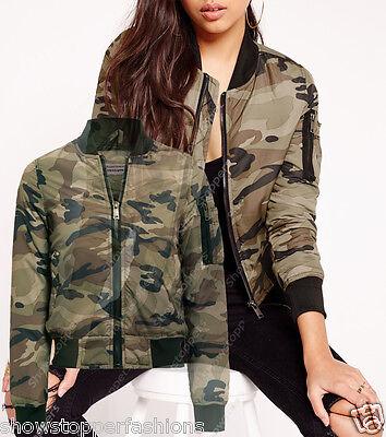 New Womens KHAKI BOMBER JACKET Sizes 8 10 12 14 16