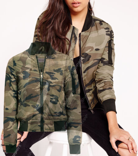 NEW Womens Camo Padded Bomber Army MA 1 Jacket Ladies Quilted Size 8 10 12 14 16