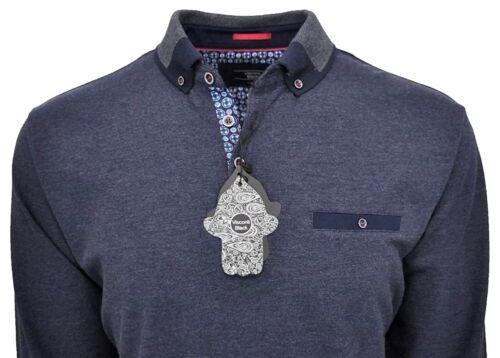 $125 Nwt Luchiano Visconti Black Long Sleeve Polo Shirt Melange Navy XL