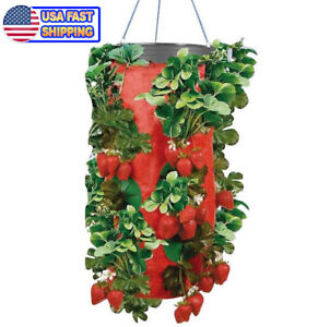 Hanging Non-Woven Felt Vertical Planter Bag Strawberry Plant Grow Container UK