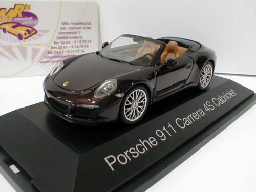 """Porsche 911 Carrera 4S Cabrio in /"""" braun metallic /"""" 1:43 NEU Herpa 071079"""