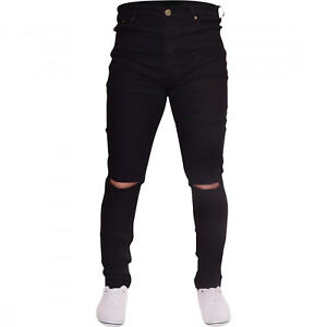 Da-Uomo-Nero-Strappato-Skinny-Jeans-Biker-distrutto-slim-fit-Designer-denim-pants-NUOVI