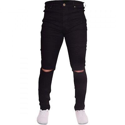 UK Mens Ripped Jeans Skinny Shorts Jeans Destroyed Frayed Jeans Denim Pants Boys