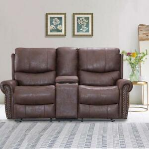 Image Is Loading Recliner Sofa Love Seat Reclining Couch Leather Loveseat
