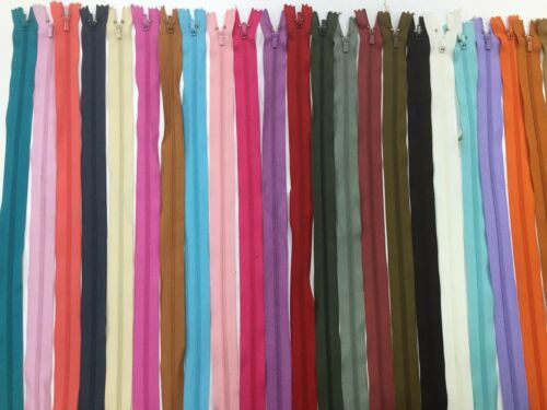 18 INCH Size 3 Nylon Closed End Autolock Zips 25 COLOURS Crafts Clothing