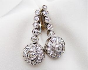Antique-Vintage-Art-Deco-3-60Ctw-Round-Diamond-Halo-14K-Gold-Over-Earrings