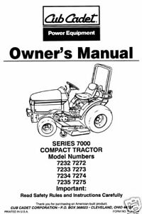 cub cadet owners manual 7232 7233 7234 7235 7272 7273 7 ebay rh ebay com Cub Cadet Electrical Diagram Cub Cadet Electrical Diagram