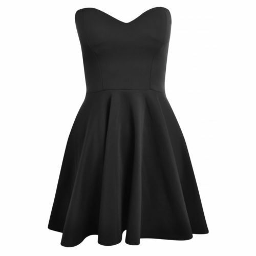 Womens Ladies Padded Boobtube Pleated Bodycon Stretch Skater Skirt Dress UK  8-14 Black 14 76a7c735a