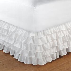 WHITE-COTTON-RUFFLES-Full-BEDSKIRT-LAYERED-BED-SKIRT-DUST-RUFFLED-PRINCESS