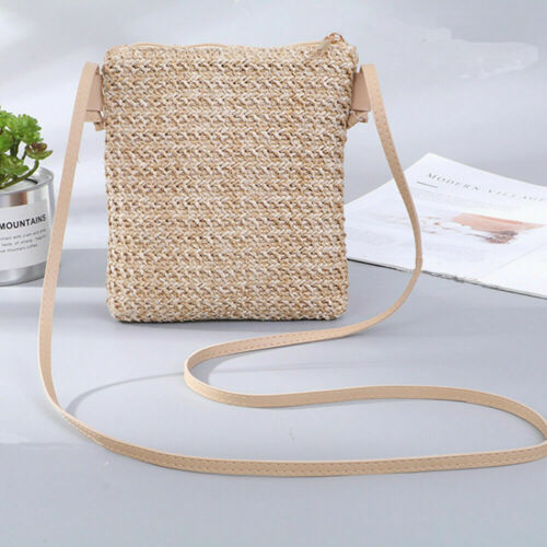 Women Straw Bag Summer Beach Rattan Shoulder Bags Wicker Weave Handbag Crossbody