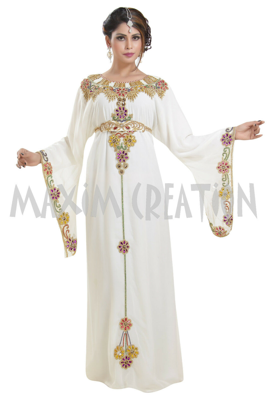 DJELLABA ORIENTAL ROBE DUBAI CAFTAN HAND EMBROIDERY PARTY WEAR BRIDAL DRESS 6374