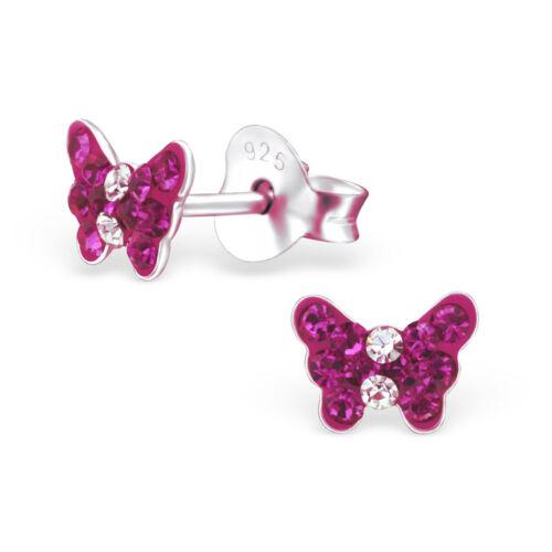 Kinder Ohrstecker Echt 925 Silber Ohrringe Schmetterling Fuchsia Himbee Mädchen