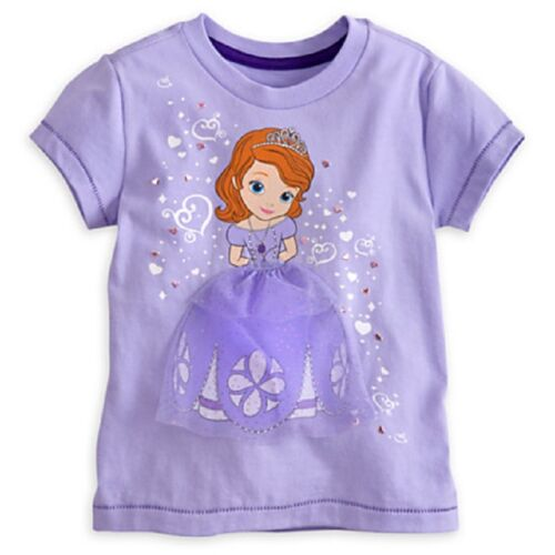 DISNEY STORE SOFIA FIRST GIRLS DELUXE TEE T-SHIRT NWT WITH GLITTERING TULLE GOWN