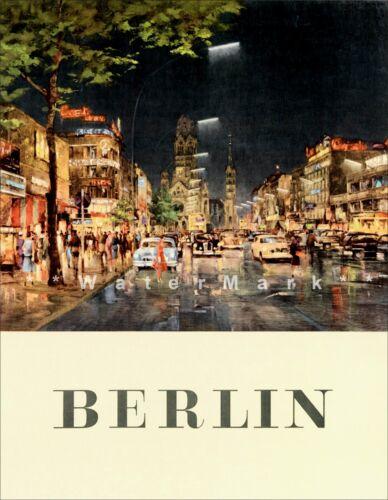 Berlin Germany 1955 Night Vintage Poster Print Retro Style Travel Art Wall Decor