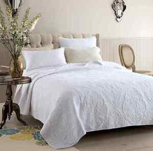 Cotton-Patchwork-Cotton-Quilt-Bedspread-Coverlet-Set-3-piece-Queen-King