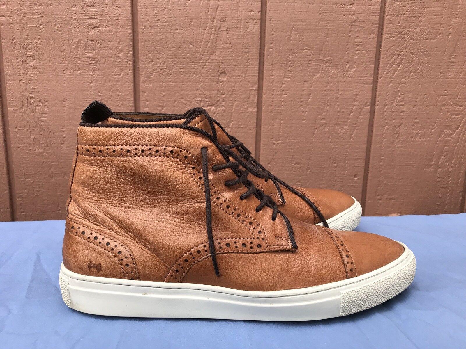 EUC RARE Mr B's US 9.5 braun Leather Cap toe Brogue Ankle Lace Up Stiefel schuhe A4
