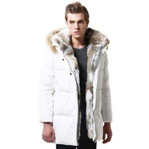 Men-039-s-Fur-Collar-Hooded-Jacket-Winter-Warm-Parka-Duck-Down-Jacket-Outwear-Coat