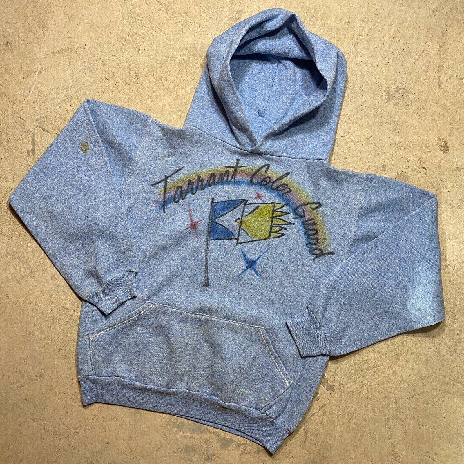 Vintage 1970s Russell Hoodie Sweatshirt Blue Heat… - image 1