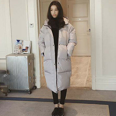 Ladies Loose Fit Puffer Long Coat Parka Jacket Hooded Oversized Winter Outerwear