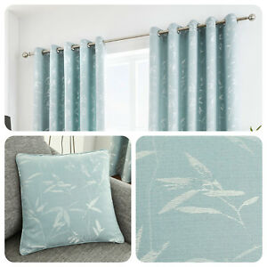 Curtina-SAGANO-Bamboo-Leaf-Duck-Egg-Blue-Ready-Made-Eyelet-Curtains-Cushions