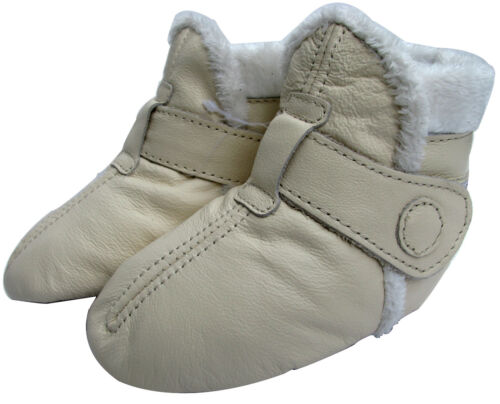 carozoo soft sole leather toddler shoes booties cream 3-4y