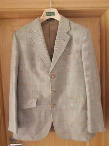 Country Check Shooting Tweed Blazer Buttons Vintage Mens Leather Jacket Wool AqPPf