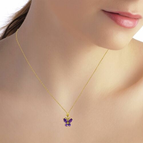 Genuine Amethyst Gems Butterfly Pendant Necklace 14K Yellow White or Rose Gold