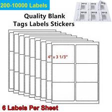 3 13 X 4 200 10000 Address Shipping Labels Self Adhesive Sticker 6 Tags Sheet