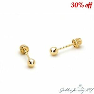 9d413b0c4 14K PURE Yellow Gold Ball Stud Earrings with Screw Back from 2MM ...