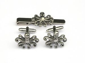 d66d7dbd47d3 Octopus S Pewter Cufflinks and Tie Clip Set Sea Life Gift Boxed | eBay