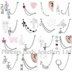 UK-SELLER-16g-Chain-Linked-Upper-Ear-Stud-Helix-Cartilage-Lobe-Earring