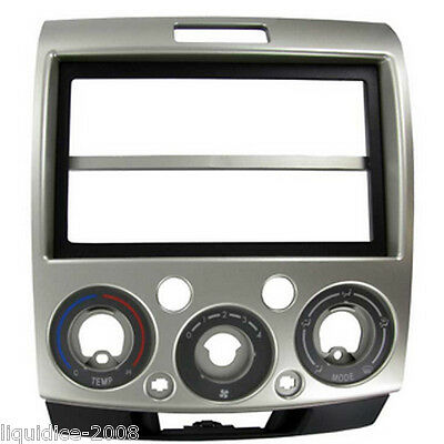 CT23FD14 MAZDA BT-50 2007 to 2012 SILVER DOUBLE DIN FASCIA ADAPTER PANEL