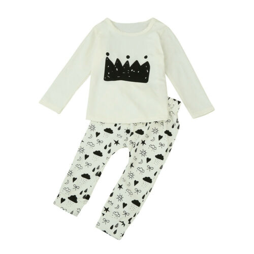 2PCS Infant Baby Girl Kids Ruffle Floral Long Sleeve Tops Pants Jeans Outfit Set