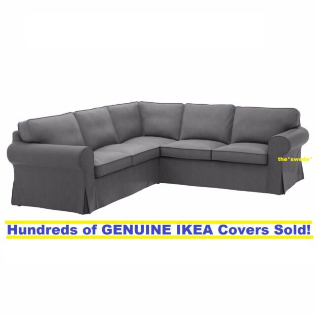 Ikea Rp 4 Seat Corner Sectional Sofa Slipcover Cover Nordvalla Dark Gray New