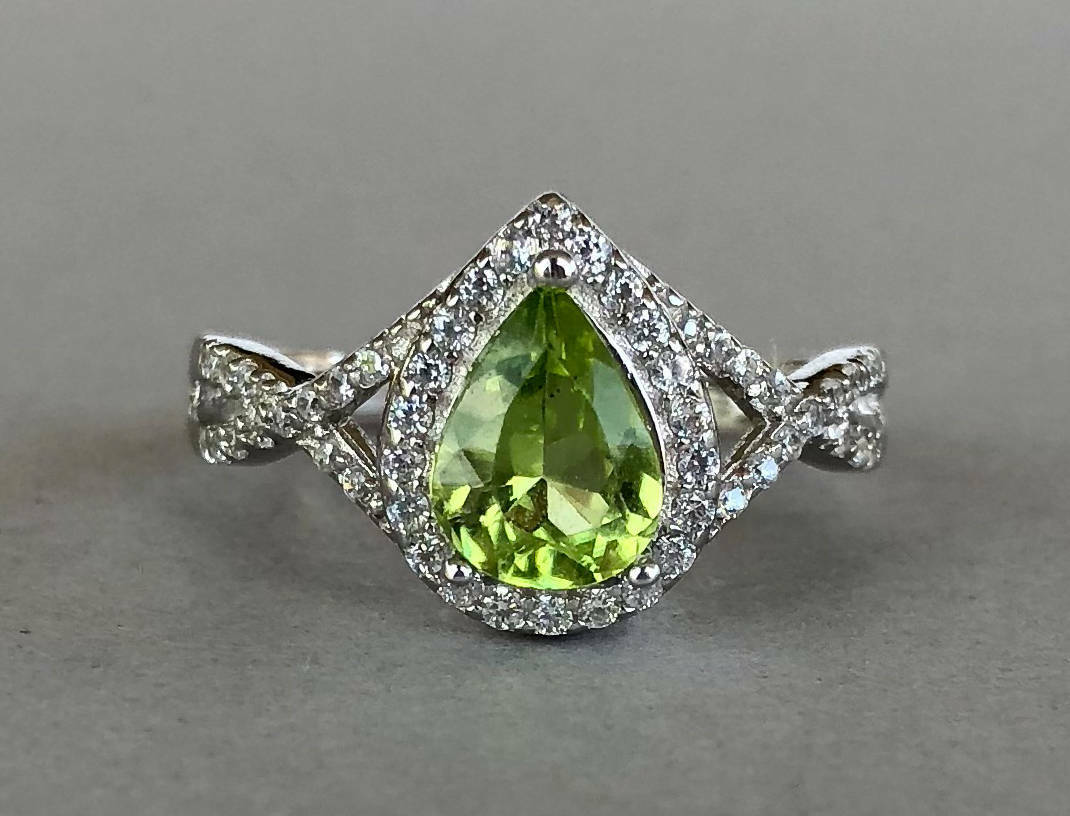 2ct Pear Cut Green Peridot Halo Infinity Engagement Ring 14k White gold Finish