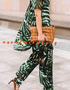 NWT Zara Green Tropical Palm Printed Shirt Top Trousers Pants Co Ord XS