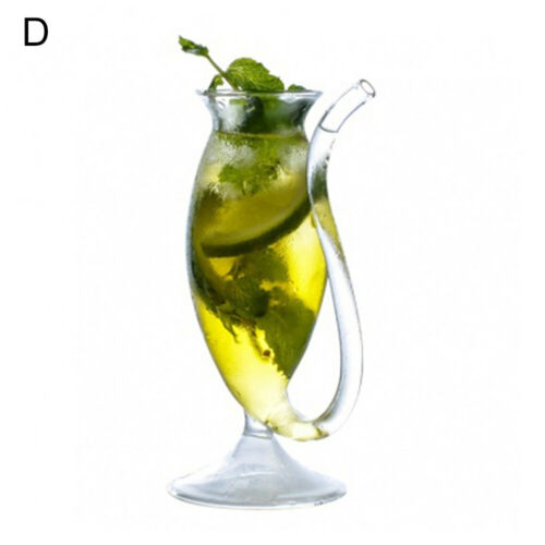 Creative 1Pcs Wine Glass Cup Mug With Built in Drinking Tube Straw Water UK