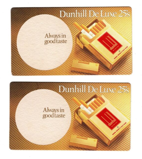 2 x Dunhill Deluxe 25's - Vintage Drink Coasters Beer Mats - Tobacciana