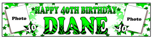 PERSONALISED BANNERS NAME AGE PHOTO BIRTHDAY PARTY 16TH MUM NAN DAD GRANDAD A3