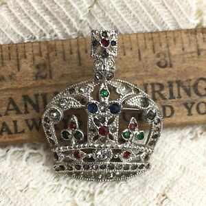 Vintage-Coro-Coronation-Crown-Perfume-Diffuser-Pin-Jeweled-Brooch-Pre-Patent