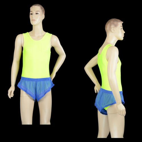 See Through Thru Sheer Sprinter Mens Blue Poly Mesh Booty Shorts Aussie Made